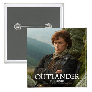 Reclining Jamie Fraser photograph 15 Cm Square Badge