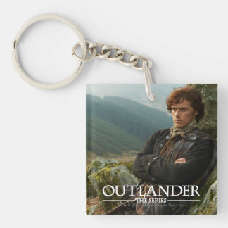 Reclining Jamie Fraser photograph Double-Sided Square Acrylic Key Ring