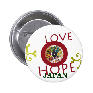Record of Leaves LOVE HOPE JAPAN Flag pin back