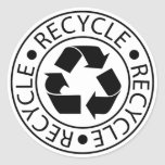 Recycle Black Logo Round Sticker