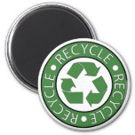 Recycle Green 6 Cm Round Magnet