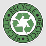Recycle Green Logo BK Letters Round Sticker