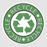 Recycle Green Round Sticker