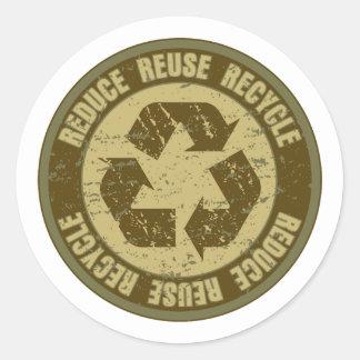 Recycled Grunge Round Sticker