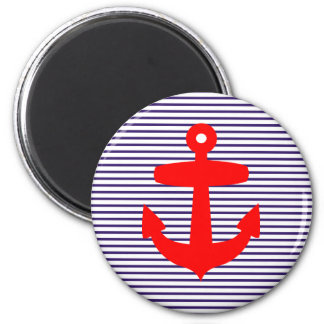 Red Anchor with Navy Blue Breton Stripes 6 Cm Round Magnet