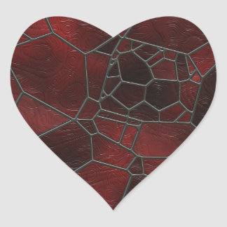 Red and Black Colored Swirly Mosaic  Art Heart Sticker