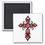 Red and Black Decorative Jesus Christ Cross Square Magnet