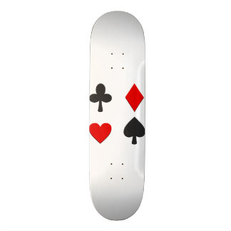 Red and Black Four Suits White Skateboards