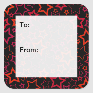 Red and Black Stars Gift Tags Square Sticker
