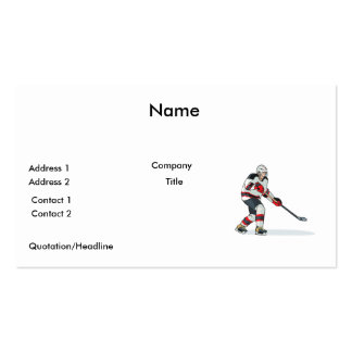 red and black uniform ice hockey player pack of standard business cards