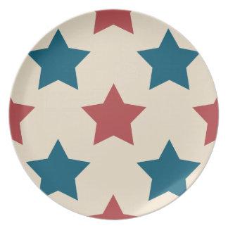 Red and Blue Stars 2 Patriotic Melamine Plates