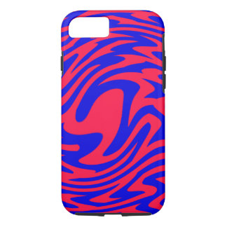 Red and Blue Swirl ZigZag iPhone 7 Case
