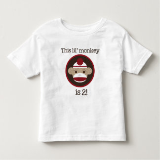 Red and Brown Sock Monkey: Second Birthday Tee