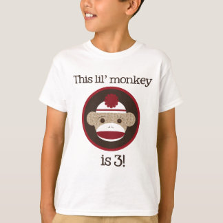 Red and Brown Sock Monkey: Third Birthday Tee