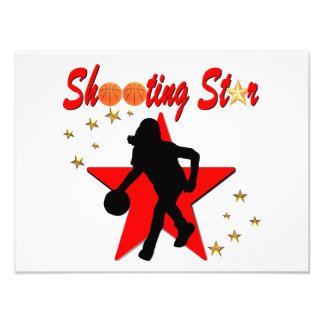 RED AND GOLD BASKETBALL SHOOTING STAR DESIGN PHOTO ART