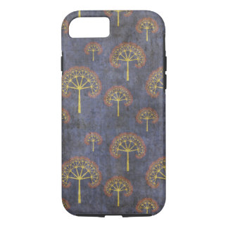 Red and Gold Trees Pattern on Blue iPhone 7 Case