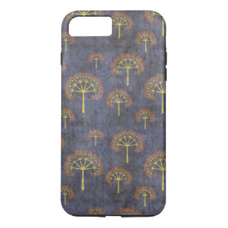 Red and Gold Trees Pattern on Blue iPhone 7 Plus Case