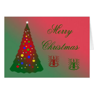Red and Green Merry Christmas Tree Greeting Card