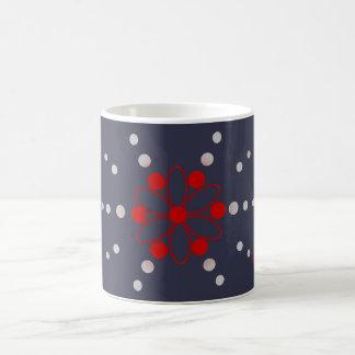 Red and grey flowery beads basic white mug
