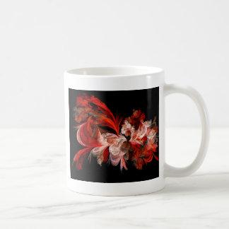 Red and White Abstract Design on Black Basic White Mug