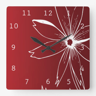 Red and White Flower Wall Clock