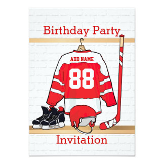 Red and White Ice Hockey Jersey Birthday Party 13 Cm X 18 Cm Invitation Card