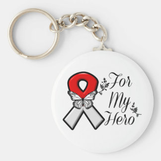 Red and White Ribbon For My Hero Basic Round Button Key Ring
