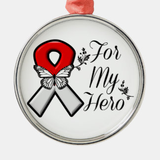 Red and White Ribbon For My Hero Silver-Colored Round Decoration