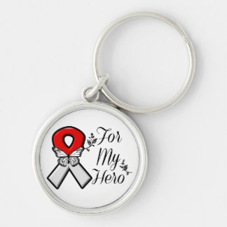 Red and White Ribbon For My Hero Silver-Colored Round Key Ring