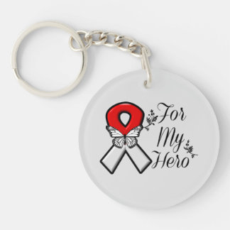 Red and White Ribbon For My Hero Single-Sided Round Acrylic Key Ring