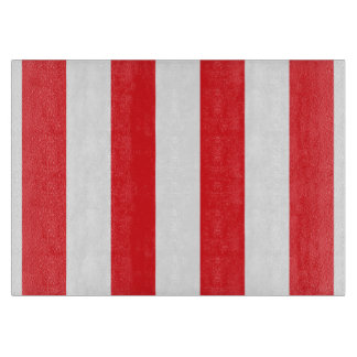 Red and White Striped Glass Cutting Board