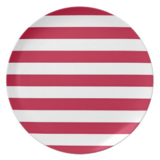 Red and White Striped Plate