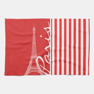 Red and White Stripes; Paris Kitchen Towels
