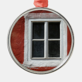 Red and White Window Silver-Colored Round Decoration