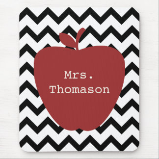 Red Apple Black & White Chevron Teacher Mouse Pad