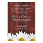 Red Barn Wood Rustic Daisy Wedding Invitations