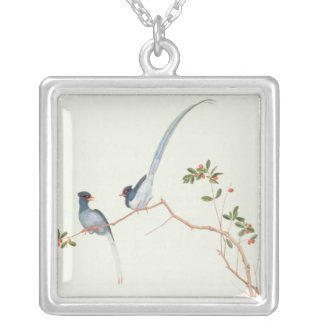 Red-billed blue magpies,a branch red berries square pendant necklace