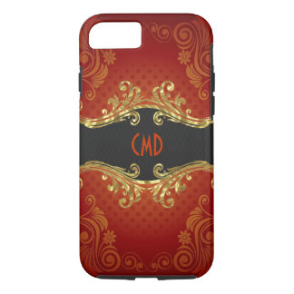Red Black And Gold Tones Vintage Swirls Monogram 2 iPhone 7 Case