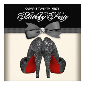 Red Black Bow Tie Womans 21st Birthday Party 13 Cm X 13 Cm Square Invitation Card