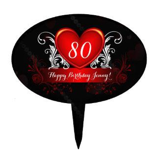 Red Black Swirly Heart Happy 80th Birthday Cake Topper