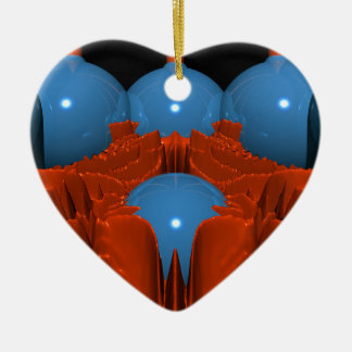 Red Blue Macro Fracta Ceramic Heart Decoration