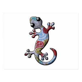 Red Blue Paisly Climbing Gecko Lizard Postcard
