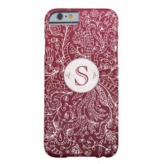 Red Bordo Floral Art Custom Monogram iPhone 6 Case