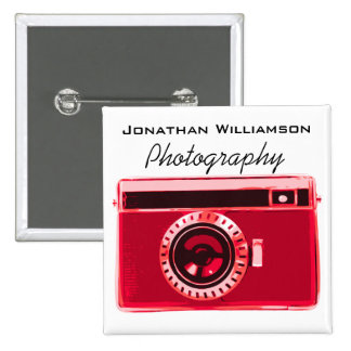 Red Camera Photography Business 15 Cm Square Badge