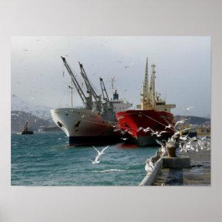 Red Cargo Vessel & White Cargo Vessel Poster