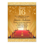 Red Carpet Hollywood Star Gold Sweet 16 Birthday 13 Cm X 18 Cm Invitation Card