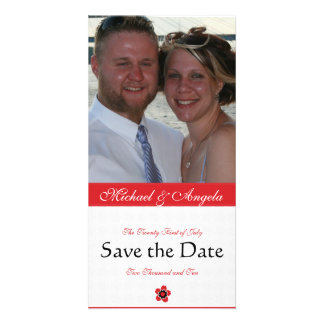 Red Cherry Blossom Sakura Save the Date Photo Card Template