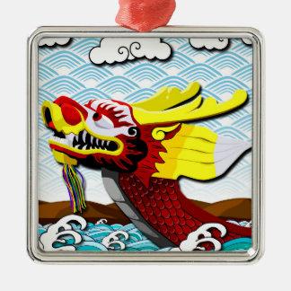 Red Chinese Dragon - Premium Square Ornament