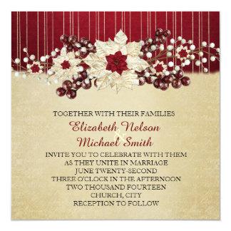 Red Christmas Star Damask Gold Wedding Invitation