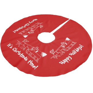 Red Christmas tree skirt with Santa sleigh ride Brushed Polyester Tree Skirt